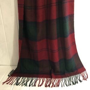 "D&Y Plaid Wrap Scarf Red Blue Green 32 x 70"" NWT"